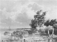 figuren bij een roeiboot by frans arnold breuhaus de groot