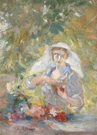jeune femme au panier de fleurs by louis ritman