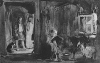 interior of a goatherd's cottage by william simson