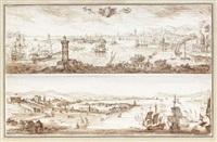 vue idéalisée de messine et de son port (+ vue du port de messine; 2 works) by filippo juvara
