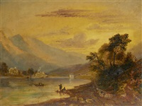 fishermen on the shores of a lake by joseph murray ince