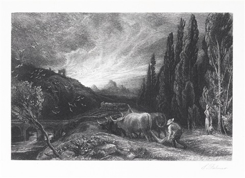 the early ploughman or the morning spread upon the mountains by samuel palmer
