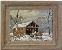 winter landscape with covered bridge by bela de tirefort