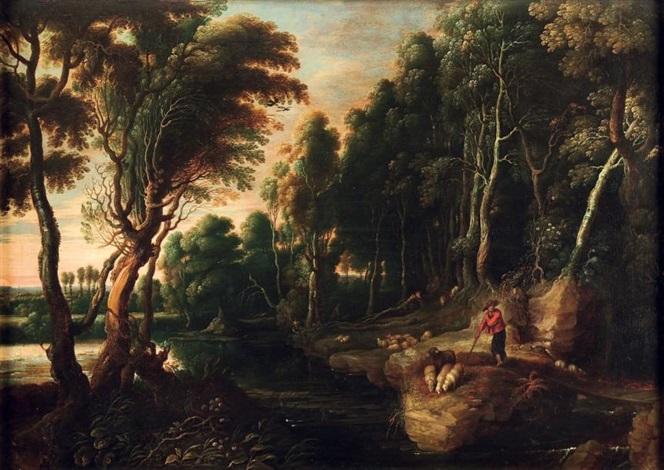 bord d étang avec un berger faisant boire ses moutons by lucas van uden