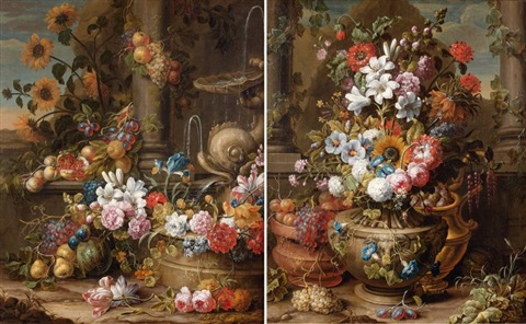 fontaine au dauphin décorée de fleurs et de fruits (+ fleurs et fruits dans des vases sculptés; pair) by gaspar pieter verbruggen the younger
