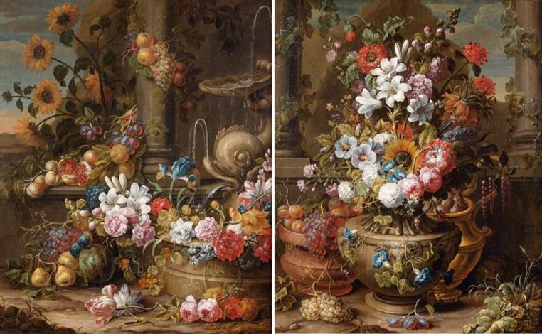 fontaine au dauphin décorée de fleurs et de fruits fleurs et fruits dans des vases sculptés pair by gaspar pieter verbruggen the younger
