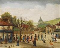 procession de mariage devant l'auberge by jean fous