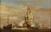 the landfall of the royal caroline, firing a salute by peter monamy