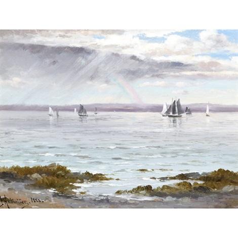 ships below a rainbow by constant auguste de l aubiniere