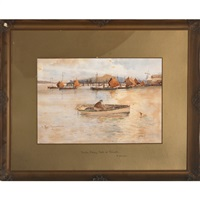 newlyn fishing boats at falmouth (+ street in coverack, cornwall; 2 works) by eyres simmons