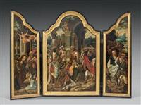 la nativité, l'adoration des mages, la fuite en egypte (triptych) by jan van dornicke