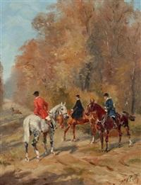 trois cavaliers regardant un cerf traversant une allée by karl andré jean (baron) reille