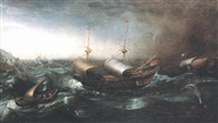 dutch merchant vessels and a smalschip accompanied by dolphins in heavy seas by aert van antum