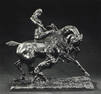 lady riding side saddle with her greyhound by ludovico-marazhani auter