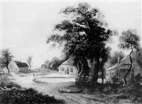 figures before cottages and a pond in a wooded landscape by john smith the younger
