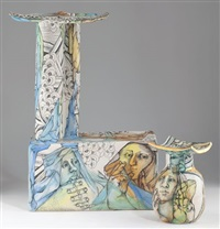 a trophy for all seasons stand and vase (2 works) by mary lou higgins