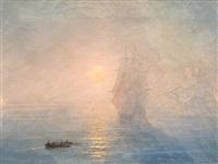 sailing boats at sunrise by ivan konstantinovich aivazovsky
