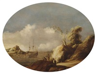 a coastal landscape with a three-master at anchor, figures conversing in the foreground and a town beyond by gillis (egidius i) peeters