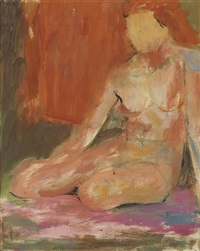 untitled (seated female nude) by alma woodsey thomas