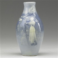 aerial blue cabinet vase with sheep and shepherdess by william purcell mcdonald