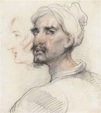 portrait of a man in a turban, in three-quarter profile, turned to the left and a subsiduary study of a woman's head by george chinnery