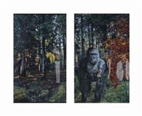 windows, gorilla (2 works) by oleg kulik