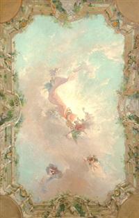 boceto para el techo del salon de l'europe en el casino de montecarlo by pierre ribera