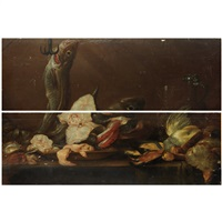still life with fish, game and tableware by alexander adriaenssen the elder