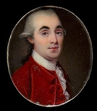 a gentleman, wearing red coat, waistcoat and white lace cravat, his powdered hair worn en queue by henry spicer