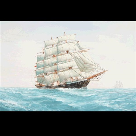 three masted schooners under full sail by montague dawson