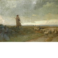 a shepherd and his flock by louis emile adan