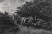 bauernfamilie mit kuh und kalb by julius hess