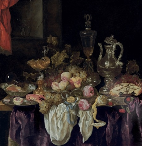 pronk still life of bowls of fruit and other objects on a table draped in purple and white cloths in an interior with a niche behind by abraham van beyeren