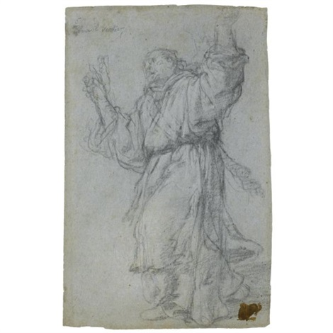 a monk turning towards the left his arms raised an angel annunciate seen in profile verso by giulio benso