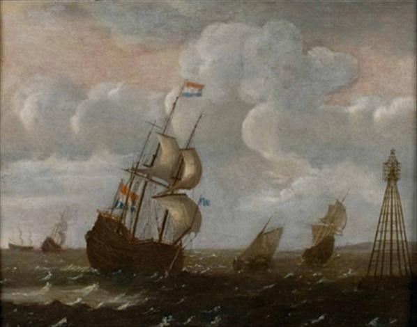 holländisches seestück mit dreimaster und weiteren segelschiffen by adam silo