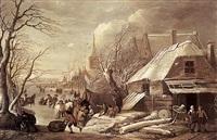 patineurs et personnages dans un paysage de rivière gelée by gerrit (gerard) battem