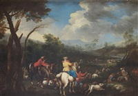 elegant figures departing for the hunt, before an open landscape by pandolfo reschi