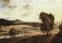 extensive landscape with a river and mountains in the    distance by jacob koninck the elder
