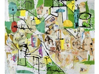 green on green collage painting by george condo