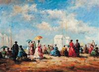 jeunes femmes sur la plage by j. girardier