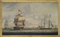a flagship of the red squadron with her consorts passing dover as they beat their way up the channel by thomas whitcombe