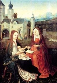 sainte anne, la vierge et l'enfant jésus by master of frankfurt