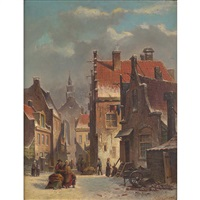 winter in the village by adrianus eversen