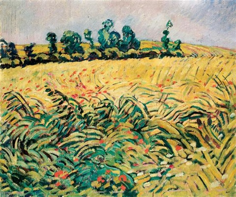 field of wheat and poppies by louis valtat