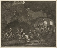 le coup de pistolet (after pieter van laer) by cornelis visscher