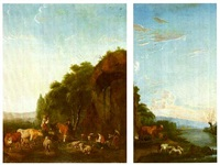 a set of eight wall panel of landscapes with peasants and  cattle near water by johannes le fever