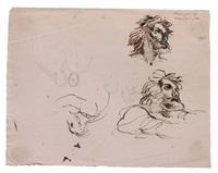 etudes présumées pour 'le naufrage de don juan' : trois têtes et quatre personnages by eugène delacroix