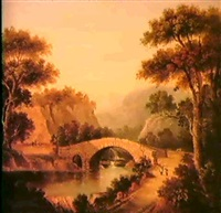 figures before a bridge, in a mountainous river landscape  also figures fishing in a mountainous lake landscape by anne gibson (bennett) nasmyth