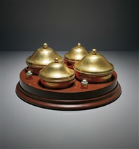 lazy susan and set of four dishes by gabriella crespi