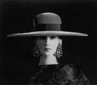 model ruth newman in a persian lamb coat and fuchsia hat by gleb derujinsky